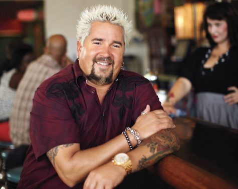 On set with Guy Fieri at Succotash restaurant in Kansas City, Missouri, as seen on Food Network's Diners, Drive-Ins, and Dives, Season 18.