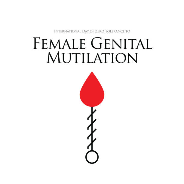Zero Tolerance for Female Genital Mutilation. Stop female genital mutilation. Zero tolerance for FGM. Stop female circumcision, female cutting stock illustration